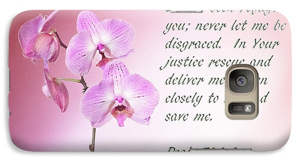 Galaxy Case featuring the photograph Light Pink Orchid Psalms 71 by Linda Phelps