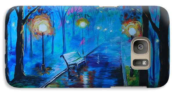 Galaxy Case featuring the painting Lighted Parkway by Leslie Allen