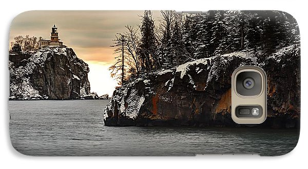 Galaxy Case featuring the photograph Lighthouse And Island At Dawn by Larry Ricker