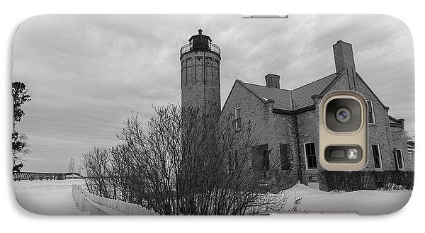 Galaxy Case featuring the photograph Lighthouse And Mackinac Bridge Winter Black And White  by John McGraw