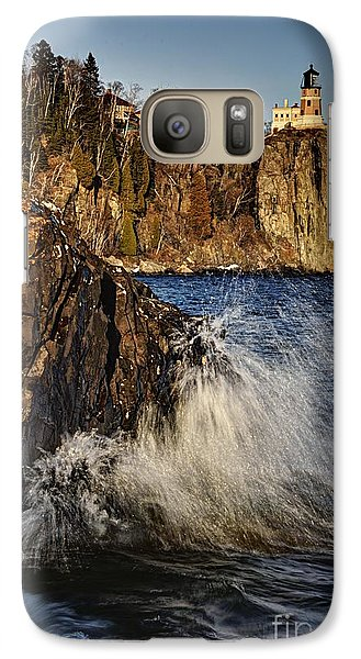 Galaxy Case featuring the photograph Lighthouse And Spray by Larry Ricker
