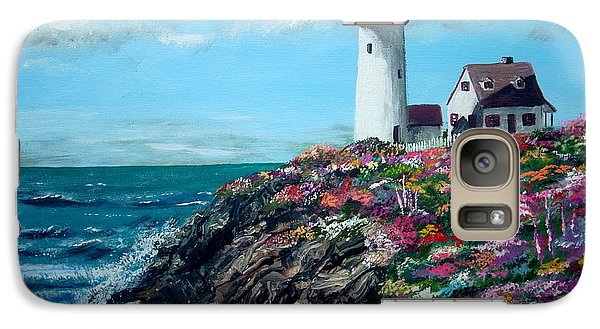 Galaxy Case featuring the painting Lighthouse At Flower Point by Jack Skinner
