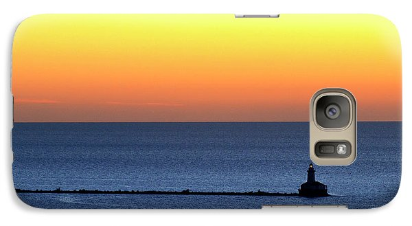 Galaxy Case featuring the photograph Lighthouse At Sunrise On Lake Michigan by Zawhaus Photography