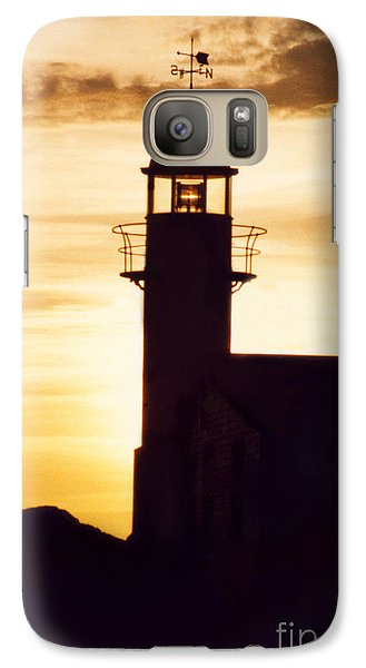 Galaxy Case featuring the photograph Lighthouse At Sunset by Mary Mikawoz