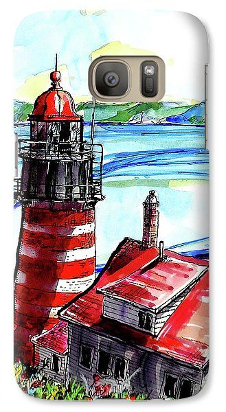 Galaxy Case featuring the painting Lighthouse In Maine by Terry Banderas