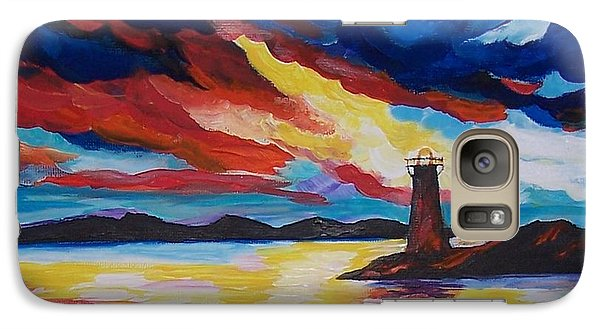 Galaxy Case featuring the painting Lighthouse Storm by Leslie Allen