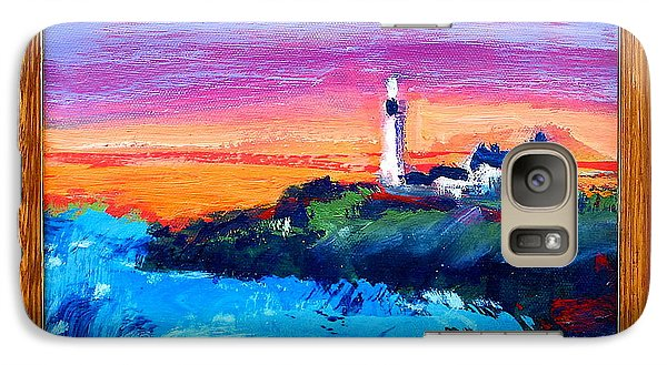 Galaxy Case featuring the painting Lighthouse Sunset by Les Leffingwell