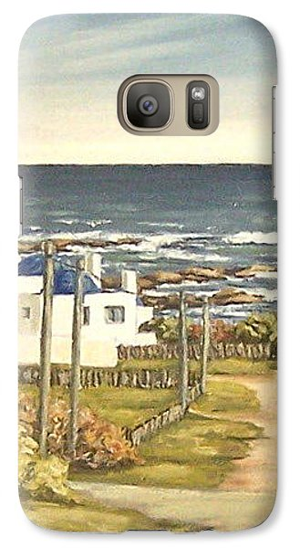 Galaxy Case featuring the painting Lighthouse Uruguay  by Natalia Tejera