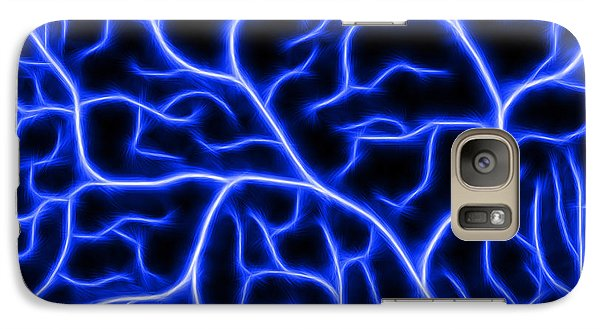 Galaxy Case featuring the digital art Lightning - Blue by Shane Bechler