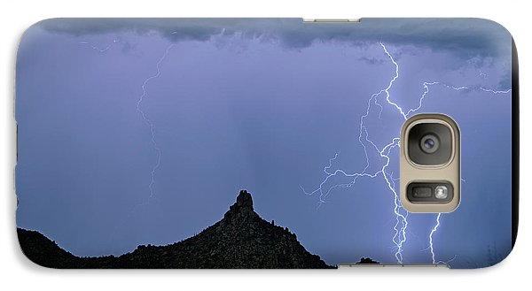 Galaxy Case featuring the photograph Lightning Bolts And Pinnacle Peak North Scottsdale Arizona by James BO Insogna