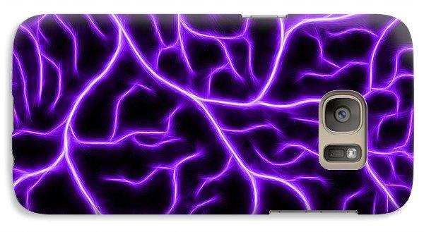 Galaxy Case featuring the digital art Lightning - Purple by Shane Bechler