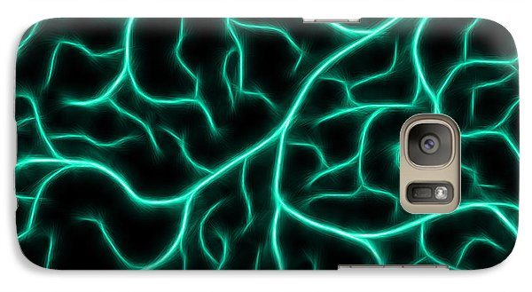 Galaxy Case featuring the digital art Lightning - Teal by Shane Bechler