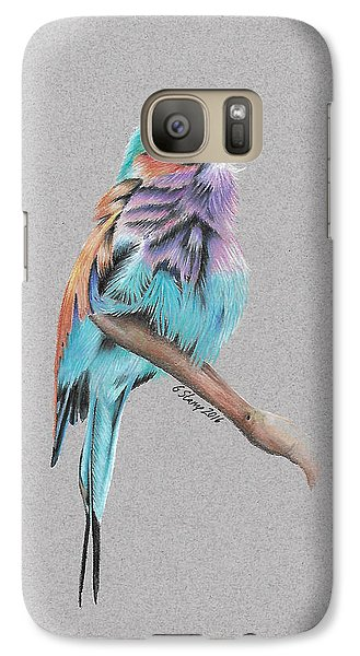 Galaxy Case featuring the drawing Lilac Breasted Roller by Gary Stamp