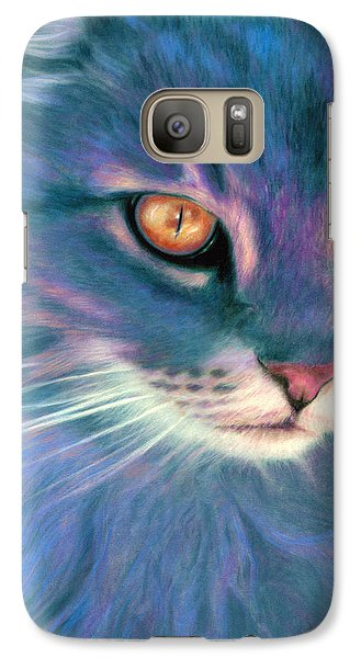 Galaxy Case featuring the painting Lilac Cat by Ragen Mendenhall