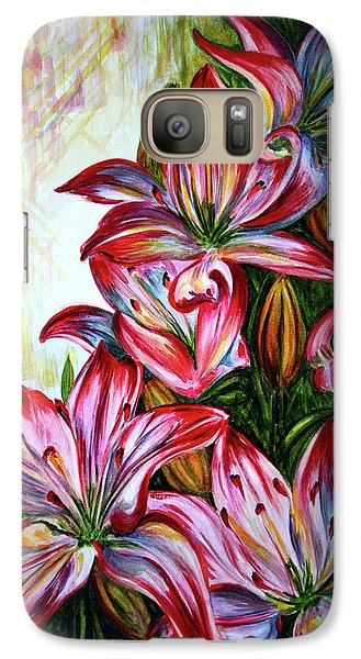 Galaxy Case featuring the painting Lilies by Harsh Malik