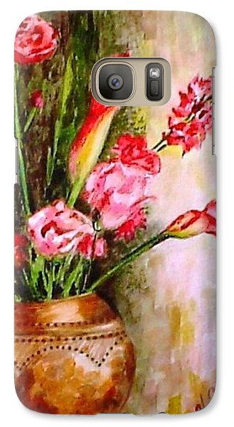 Galaxy Case featuring the painting Lilies In The Pots by Harsh Malik