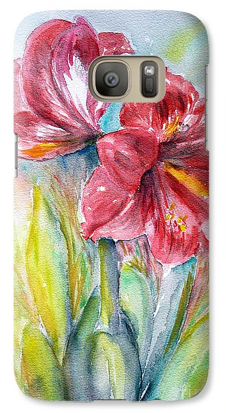 Galaxy Case featuring the painting Lily Red by Jasna Dragun