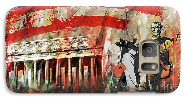 Galaxy Case featuring the painting Lincoln Memorial And Lincoln Statue by Gull G