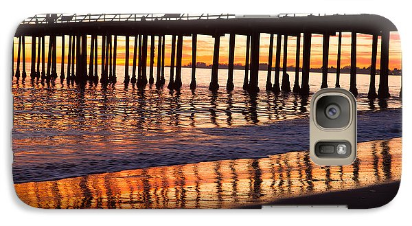 Galaxy Case featuring the photograph Sunset Seacliff Shadows by Lora Lee Chapman