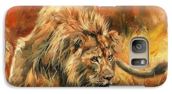 Galaxy Case featuring the painting Lion Alert by David Stribbling