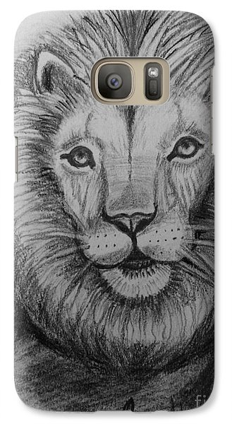 Galaxy Case featuring the painting Lion by Brindha Naveen