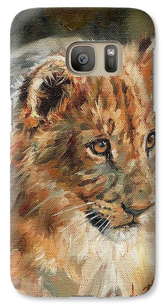 Galaxy Case featuring the painting Lion Cub Portrait by David Stribbling