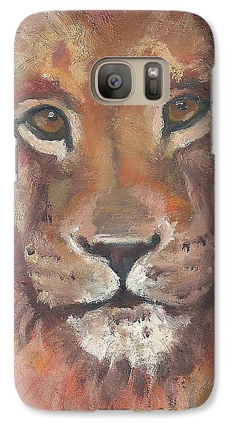 Galaxy Case featuring the painting Lion by Jessmyne Stephenson