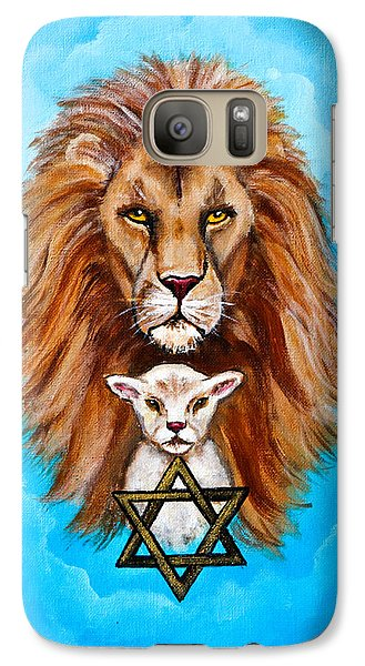 Galaxy Case featuring the painting Lion Lies Down With A Lamb by Bob and Nadine Johnston