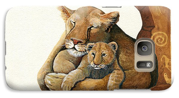 Galaxy Case featuring the painting Lion - Protect Our Children Painting by Linda Apple