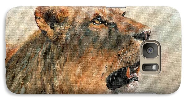 Galaxy Case featuring the painting Lioness Portrait 2 by David Stribbling