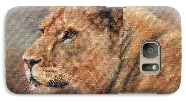 Galaxy Case featuring the painting Lioness Portrait by David Stribbling