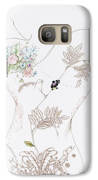Galaxy Case featuring the drawing Lisette by Karen Robey