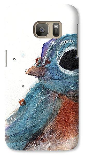 Galaxy Case featuring the painting Little Bluebird by Dawn Derman