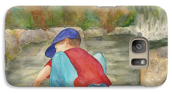 Galaxy Case featuring the painting Little Boy At Japanese Garden by Vicki  Housel