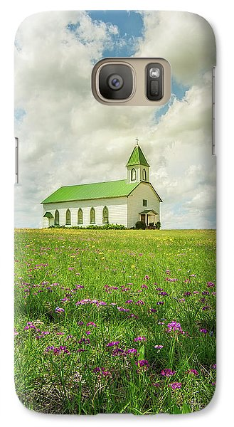 Galaxy Case featuring the photograph Little Church On Hill Of Wildflowers by Robert Frederick