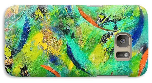 Galaxy Case featuring the painting Little Fishes by Lyn Olsen