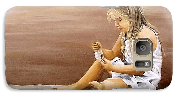 Galaxy Case featuring the painting Little Girl With Sea Shell by Natalia Tejera