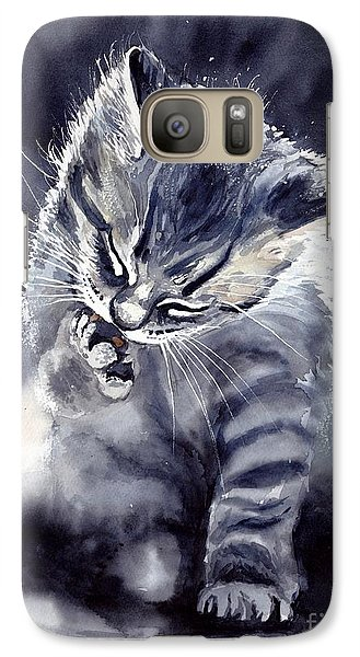 Fairy Galaxy S7 Case - Little Grey Cat by Suzann's Art