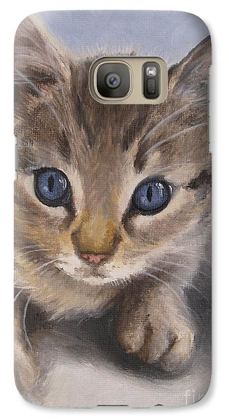 Galaxy Case featuring the painting Little Kitty by Jindra Noewi