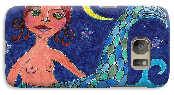 Galaxy Case featuring the mixed media Little Mermaid by Lisa Noneman