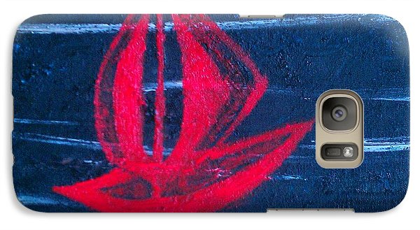 Galaxy Case featuring the painting Little Red Boat  by Jacqueline McReynolds