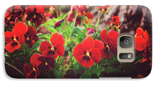 Galaxy Case featuring the photograph Little Red Pansies by Toni Hopper