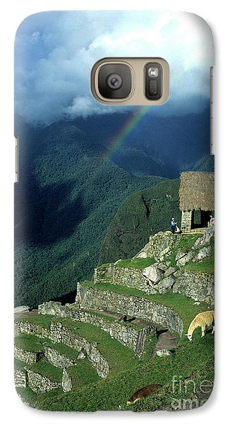 Llama Galaxy S7 Case - Llama And Rainbow At Machu Picchu by James Brunker