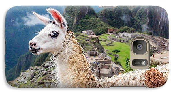 Llama At Machu Picchu Galaxy Case by Jess Kraft