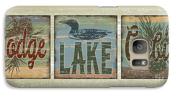 Lodge Lake Cabin Sign Galaxy S7 Case by Joe Low