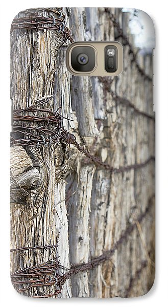 Galaxy Case featuring the photograph Log And Wire Fence by Phyllis Denton