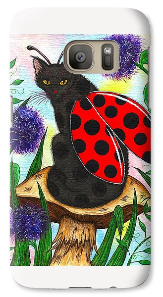 Galaxy Case featuring the painting Logan Ladybug Fairy Cat by Carrie Hawks
