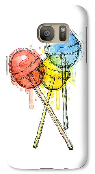 Lollipop Candy Watercolor Galaxy S7 Case by Olga Shvartsur