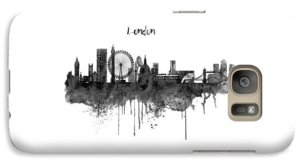 London Black And White Skyline Watercolor Galaxy S7 Case by Marian Voicu