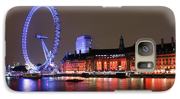 Galaxy Case featuring the photograph London Eye By Night by RKAB Works